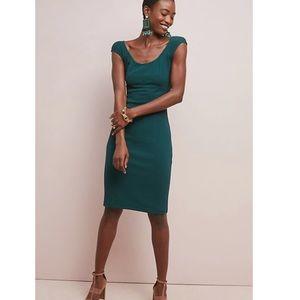 Anthropologie Maeve Clarissa Green Sheath Dress